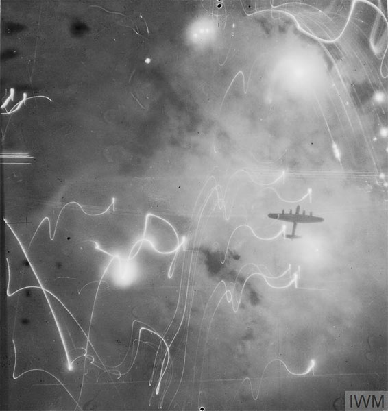 An Avro Lancaster on the night of 30/31 January 1943. © Crown Copyright: IWM