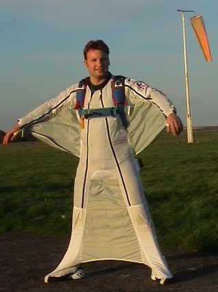 Craig Poxon in his wingsuit