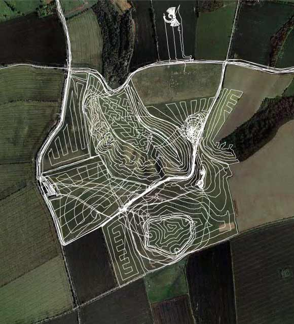 All GPS tracks including crop circle